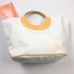 NWT Clarins Cream White & Yellow Large Tote Bag
